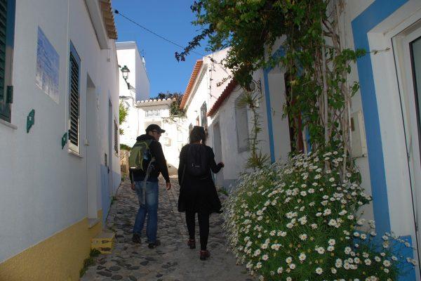 Walking Whitewashed walls west Algarve village